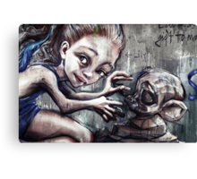 Modelling her monkey Canvas Print