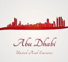 Abu Dhabi skyline in red and gray background by Pablo Romero
