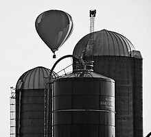 Hot Air Balloon and Silos Black and White by Lee Craig