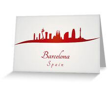 Barcelona skyline in red and gray background Greeting Card