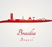 Brasilia skyline in red and gray background by paulrommer