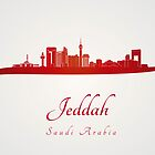 Jeddah skyline in red and gray background by paulrommer