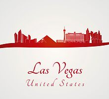 Las Vegas skyline in red and gray background by Pablo Romero