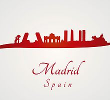 Madrid skyline in red and gray background by Pablo Romero