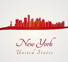 New York skyline in red and gray background by Pablo Romero