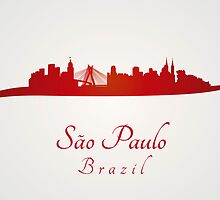 Sao Paulo skyline in red and gray background by Pablo Romero