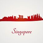 Singapore skyline in red and gray background by paulrommer