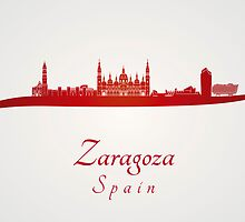 Zaragoza skyline in red and gray background by Pablo Romero