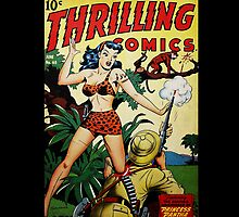 Retro Science Fiction Cover - Thrilling Comics by jeastphoto