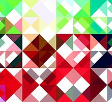 Mixed color Poinsettias 3 Abstract Triangles 1 by Christopher Johnson
