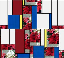 Mixed color Poinsettias 3 Art Rectangles 4 by Christopher Johnson