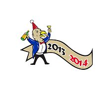 Happy New Year 2014 Turkey Toasting Wine Cartoon by patrimonio