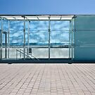 Glass boxes, stairwells at the beach Barcelona by Cecily  Graham