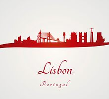 Lisbon skyline in red by Pablo Romero