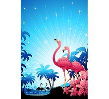 Pink Flamingos on Blue Tropical Landscape Photographic Print