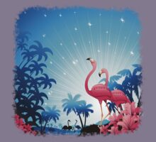 Pink Flamingos on Blue Tropical Landscape Kids Clothes