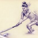 Women's hockey player - drawing by Paulette Farrell