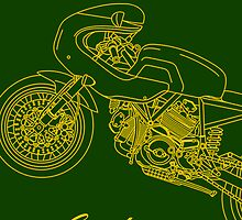 Retro Café Racer Bike Case - Green/Gold by superleggera