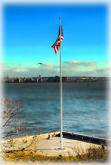 Flag Over Ellis Island by Dyle Warren