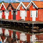Red Boathouses in Fiskebackskil by Michael Brewer