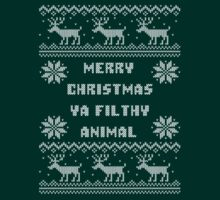 Knitted Merry Christmas Ya Filthy Animal Ugly Sweater by xdurango