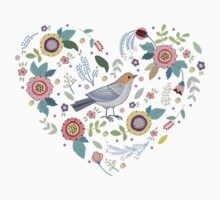 Romantic bird with flowers in vintage style by Anna  Yudina