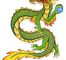 Green Chinese Dragon by Rebecca Wang