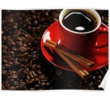 Cup of Coffe on Coffee Beans art photo print Poster