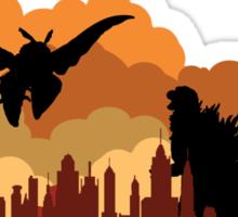 Godzilla versus Mothra cityscape Sticker