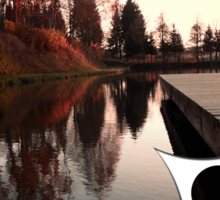 Romantic evening at the lake IV | waterscape photography Sticker