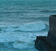 Rough Sea and Jetty at Dusk by Sue Robinson