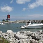 Racine North Breakwater Light by Monnie Ryan