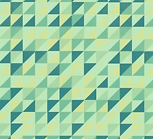 Lime Green Geometric Grid by Grinned