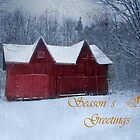 Winter Barn Season's Greeting by Kathilee