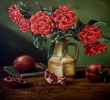 """Roses and pomegranates""  by Jozi Mesaros"