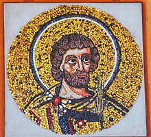Mosaic of disciple Museum Duomo Ravenna Italy 198404150046  by Fred Mitchell