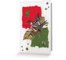 grey, green and red flapping bird Greeting Card