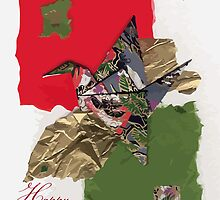 Holidays grey, green and red flapping bird by Julie  Savard