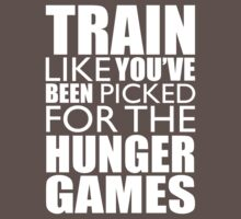 Train For the Hunger Games - Exercise Workout Training CrossFit Tee Fitness White Ink by Max Effort