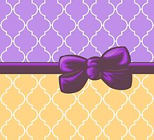 Ribbon, Bow, Moroccan Trellis - Orange White Purple by sitnica