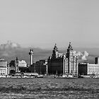 Liverpool skyline black and white by Paul Madden