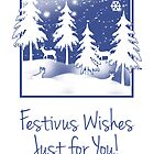 Festivus Greeting Card With Winter Scenery by Moonlake