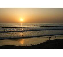 California Surfing Sunset - Pacific Beach, San Diego, California Photographic Print