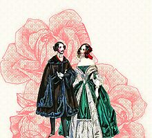 vintage couple pink damask by hellohappy