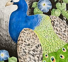 Peacock with Morning glory by jkartlife