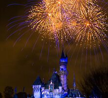 Fireworks over Sleeping Beauty Castle in Disneyland by Botts85