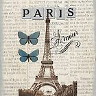 Blue Eiffel Tower with Butterflies by claryce84