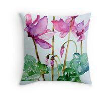 Cyclamen plant (Winter colour) Throw Pillow