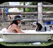Bathtime for cowgirl and her best mate. by Barbara  Jean