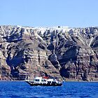 Below the Cliffs of Santorini by Nancy Richard